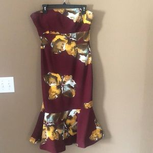 Floral Mermaid Style Tube-Top Dress. Size 10